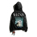 Fashion Unisex Letter Smoking Woman Printed Long Sleeve Leisure Hoodie with Pocket
