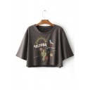 Fashionable Cactus Letter Embroidered Round Neck Short Sleeves Cropped Tee