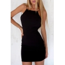 Natural Spaghetti Straps Open Back Plain Simple Bodycon Mini Cami Dress