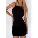 Natural Spaghetti Straps Open Back Plain Simple Bodycon Mini Cami Dress