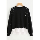 Top Design Beaded Color Block Dipped Hem Round Neck Long Sleeves Layered Sweatshirt