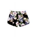 New Trendy Drawstring Waist Floral Skull Printed Shorts with Pockets