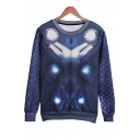 Digital Machine Printed Round Neck Long Sleeve Pullover Sweatshirt