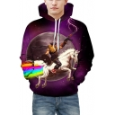 Funny Unicorn Rainbow Planet Warrior Print Long Sleeves Pullover Hoodie