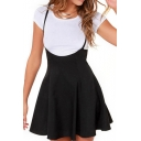 Simple Spaghetti Straps Basic Leisure A-Line Mini Overall Skirt
