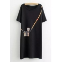 Unique Camera Pattern Round Neck Short Sleeve Loose Mini T-shirt Dress