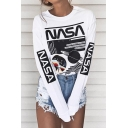 Hot Fashion Leisure Letter Planet Printed Round Neck Long Sleeve Tee