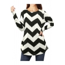 Fancy Monochrome Striped Pattern Round Neck Long Sleeves Autumn Tee