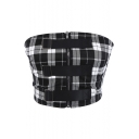 Trendy Fashion Checked Plaids Pattern Zipper Buckle Detail Summer Bandeau