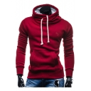 Simple Embroidered Drawstring Hood Leisure Long Sleeve Hoodie
