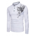 Retro Floral Rose Print Button Detail Mock Neck Long Sleeve Slim Fit Tee