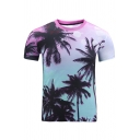 Digital Coconut Tree Printed Round Neck Short Sleeve Leisure Tee