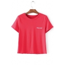 Popular Letter Embroidery Round Neck Short Sleeves Summer Casual Cropped T-shirt
