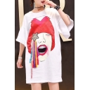 Leisure Cartoon Star Pattern Half Sleeve Loose Summer Mini T-shirt Dress