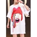 Leisure Cartoon Star Pattern Half Sleeve Loose Summer Mini T-shirt Dress