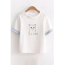 Adorable Cat Printed Contrast Cuff Round Neck Short Sleeve Comfort Tee