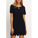 Summer Fashion Plain Petal Hem Round Neck Short Sleeve Mini T-shirt Dress