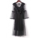 Two Pieces Round Neck Sheer Inserted Pearl Ruffle Embellished 3/4 Length Sleeve Maxi A-Line Dress