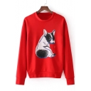 Lovely Pug Dog Printed Round Neck Long Sleeve Pullover Sweatshirt