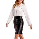 Elegant Contrast Trim Button Front Notched Lapel Chest Pocket Shirt