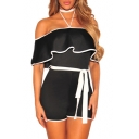 New Fashion Halter Neck Off Shoulder Ruffle Belt Waist Romper