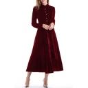 Fashionable Button Detail Mock Neck Long Sleeve Velvet Midi Plain A-line Dress