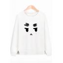 Adorable Cartoon Face Print Round Neck Long Sleeves Pullover Sweatshirt