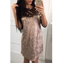 Leisure Pearl Embellished Round Neck Half Sleeve Velvet Mini T-Shirt Dress