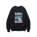 Fishing Man Letter Printed Round Neck Long Sleeve Loose Pullover Sweatshirt