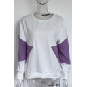 Hot Sale Color Block Round Neck Long Sleeves Pullover Casual Sweatshirt