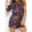 Contrast Striped Plaid Floral Printed One Shoulder Half Sleeve Elastic Waist Romper
