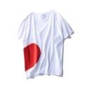 Leisure Sweetheart Pattern Round Neck Short Sleeves Summer Loose T-shirt