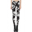 Fashionable Sun Moon Star Pattern Elastic Waist Slim Leggings