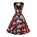 Gothic Skull Floral Rose Print Square Neck Button Detail Midi Fit & Flare Dress