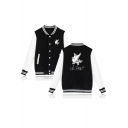 Cute Bird Letter Print Single Breasted Color Block Pockets Baseball Jacket