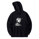 Character Letter Print Long Sleeves Pullover Hoodie with Pocket