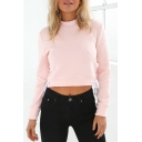 Chic Mock Neck Plain Long Sleeve Lace Up Side Pullover Cropped Sweatshirt