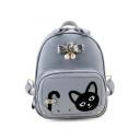 Lovely Cat Pattern Applique Leisure PU Backpack Shoulder Bag