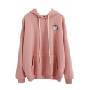 Cartoon Embroidered Patched Drawstring Hood Long Sleeve Leisure Hoodie