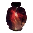 Fancy Chic Galaxy Print Long Sleeves Pullover Drawstring Hoodie