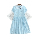 Elegant Floral Embroidered Button Front Rabbit Brooch Mini A-line Dress