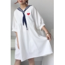 New Arrival Sweetheart Embroidery Navy Collar Necktie Loose Smock Mini Dress