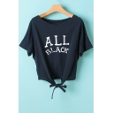 Letter Printed Round Neck Short Sleeve Tied Front Cropped Tee