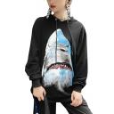 Hot Cool Shark Print Long Sleeves Pullover Women's Hoodie