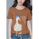 Chic Duck Letter Print Round Neck Short Sleeves Casual Tee