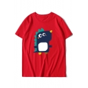 Cute Cartoon Dinosaur Print Round Neck Short Sleeves Summer T-shirt