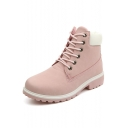 Women's Fashion Lace-up Fastening Color Block PU Patchwork Winter Boots Shoes