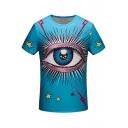 Top Design Eye Pattern Round Neck Short Sleeves Summer Tee