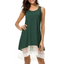 Hot Sale Scoop Neck Sleeveless Lace Panel Mini Tank Dress