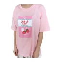 Girlish Strawberry Milk Japanese Letter Print Round Neck Half Sleeves Loose Tee